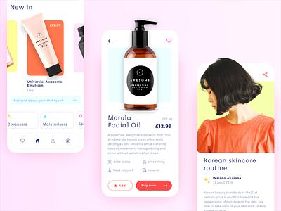 Beauty store - mobile app concept interface minimal clean cards blog product store shop makeup beauty cosmetic ux ui mobile ecommerce design colors application app design app