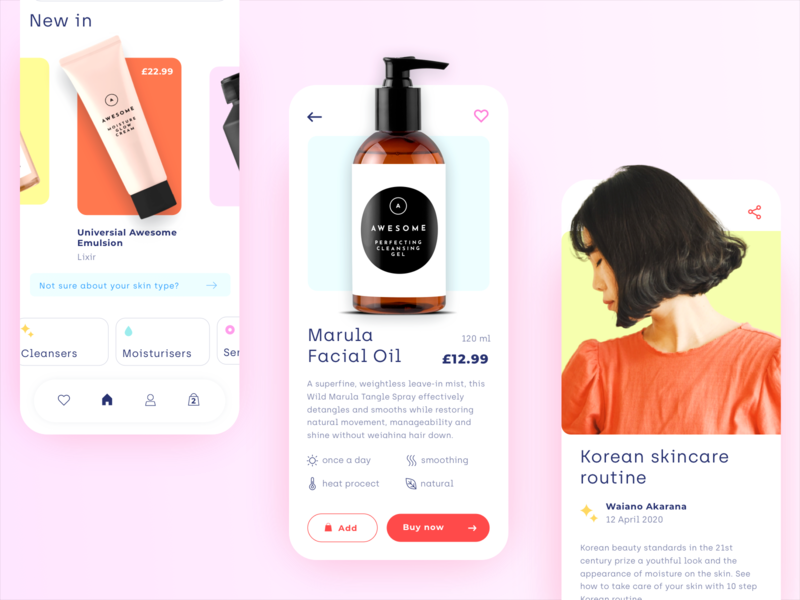 Beauty store - mobile app concept interface minimal clean cards blog product store shop makeup beauty cosmetic ux ui mobile ecommerce design colors application app design app