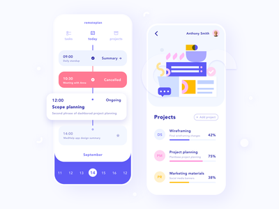 Remote Work – Planner App typography planner work remote calendar list task flat vector minimal app design figma mobile clean illustration application ux ui app dashboard