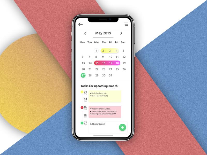 Calendar App by Wojciech Wesołowski on Dribbble