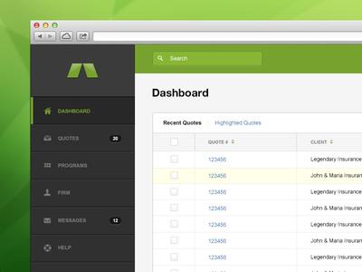 Web App Dashboard  ui user interface dashboard navigation web app layout