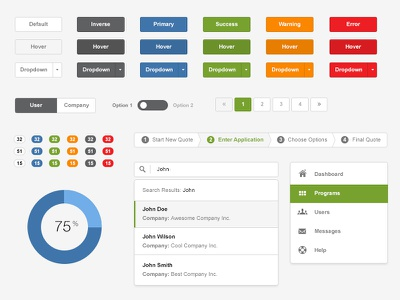 Flat UI Style Guide ui user interface style guide flat minimal icons dropdown buttons toggle pagination wizard