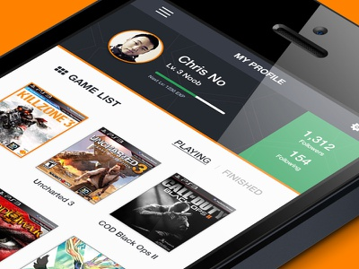 Gaming Profile App iphone game profile minimal flat ios app