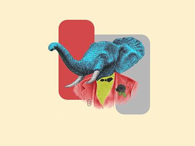 jerry popsurrealism photoshop illustrator mixed media vector digital contemporary digitalcollage digitalart graphic  design design foundimageobject contemporaryart elephant animal portrait found objects collage