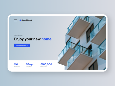 Cube District | Residential District minimal benefits home page product webdesign website ux ui exterior building home house architecture property real estate