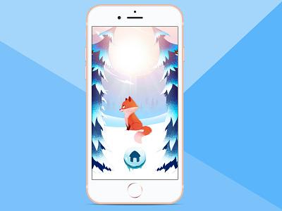 Split Screen Winter Fox forest fox winter iphone ios app splitscreen