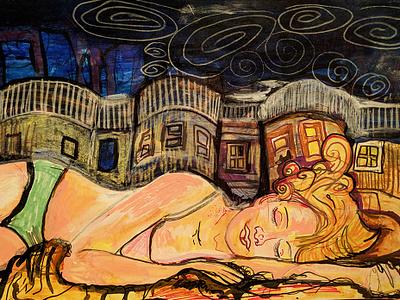 Slumber Sketch 1 expressionism figure drawing fine art mixed media illustration
