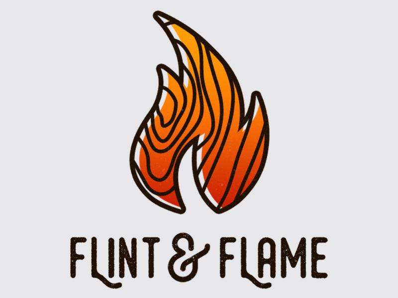 Flint & Flame rustic designer graphic design flat logo flame wood fire minimalist logo design logo