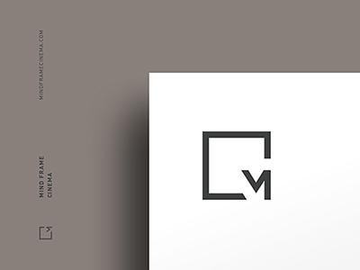 Mind Frame Cinema typography modern monogram minimal frame mind m logo purmort hannah cinema