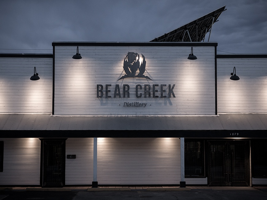 Bear Creek Distillery Brand Identity handcrafted small batch package design distillery branding modern logo colorado whiskey bear creek distillery bear whiskey distillery signage logo logo design branding hannah purmort