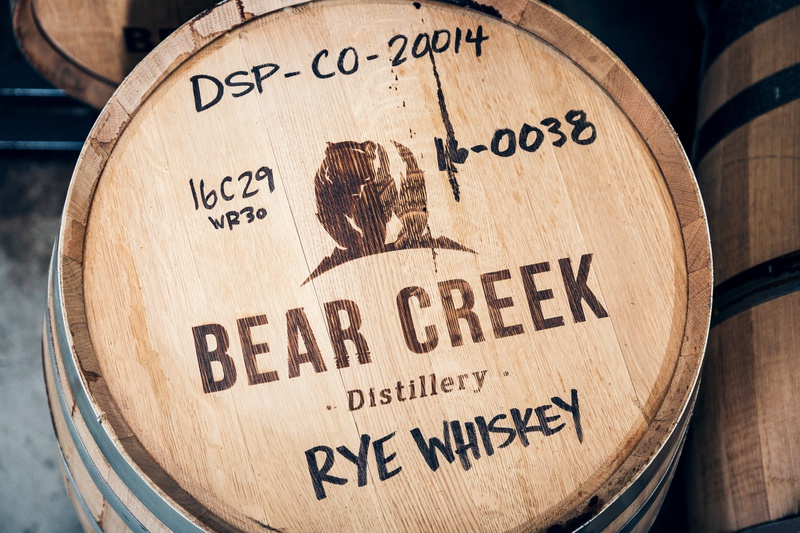 Bear Creek Distillery small batch minimal logo bear creek distillery bear logo package design distillery brand whiskey whiskey branding distillery illustration brand identity typography logo design branding hannah purmort minimal logo