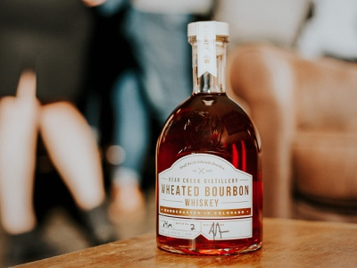 Bear Creek Distillery Wheated Bourbon - Package Design small batch foil stamping bear creek distillery bottle design package design label design whiskey label whiskey bourbon print design design typography branding hannah purmort
