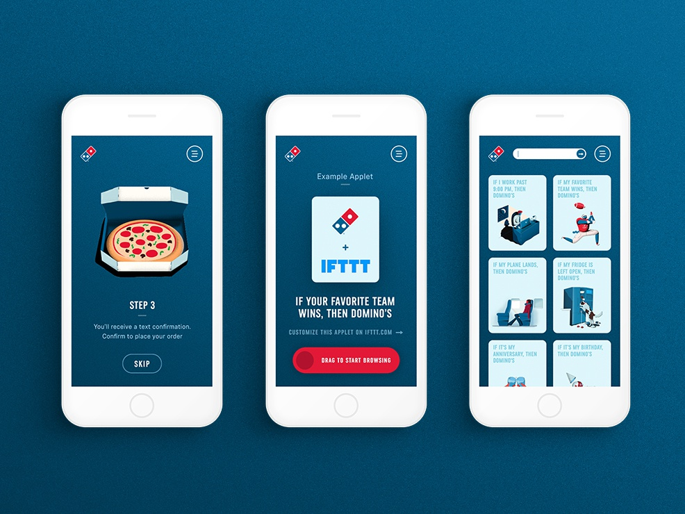 If This Then Domino's - Responsive Design legwork minimal applet pizza ifttt food website mobile ux ui ifthisthendominos dominos responsive