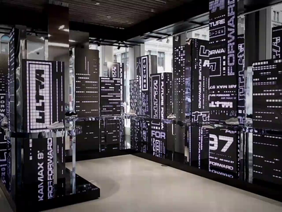 Nike Soho - Air Max 97 Retail Experience typograpgy custom typography environment motion graphics kinetic type blade runner future forward am97 nike air max nyc nike experiential design experiential retail design retail