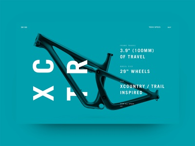 Yeti Cycles - Product Page race cycle mountain bike mountain cross country tech technical specs bike website bike frame bike legwork studio yeti cycles product page web design design ui ux typography hannah purmort minimal