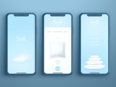 SOFT pillows dailyui creative product design sketch principle app user experience application mobile interace minimal website branding animation app ux ui design