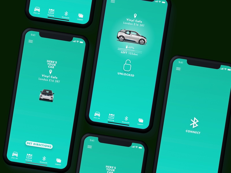 Connect to Your Car electric car bmw eco after effects mobile minimal invisionstudio invision ux user experience branding application app ui sketch product design design dailyui creative
