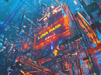 Luna Park 3d art 3d dangiuz cyberpunk c4d
