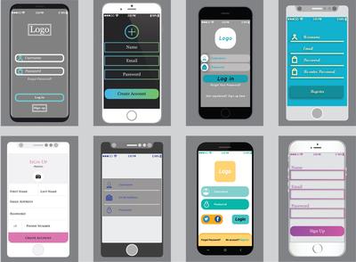 Mobile App Login Screen Wireframes UI Design