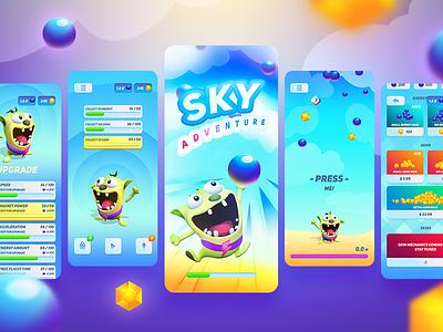 Sky Adventure   Mobile game art illustraion casual-games game mobile art direction 3d 2d ios casual ui design ux ui