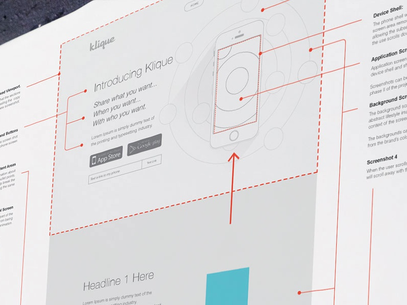 Landing Page Wireframes ux ui ia wireframes prototype landing page app mobile parallax