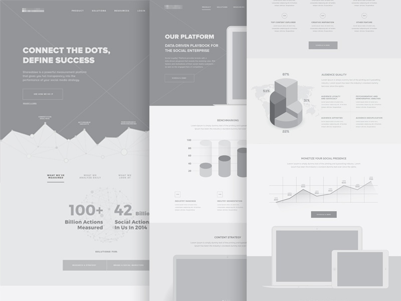Product Website Wireframes funnel wireframe clean app website product landing page home page ui ia ux