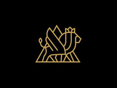Good King clean design logo mark icon lion king line minimal crown branding gold