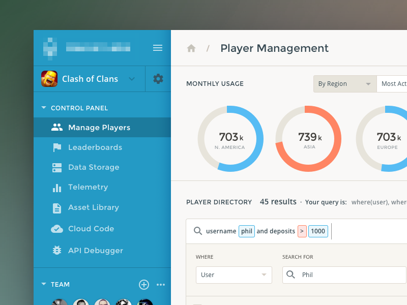 Player Dashboard UI graph clean analytics ux ui product app form admin data dashboard chart