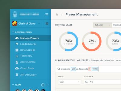 Player Dashboard UI graph clean analytics ux ui product app form admin data dashboard chart