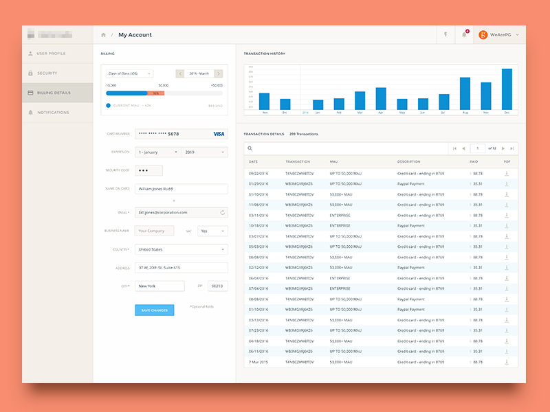 Billing Details Page dashboard app chart graphs admin clean product modern ui ux design analytics form