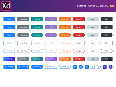 Free Buttons Library - Adobe XD freebie ui-kit buttons adobexd