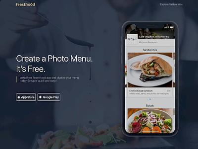 Restaurant Photo Menu App Landing Page | FeastHood landing page menu design restaurant app photo