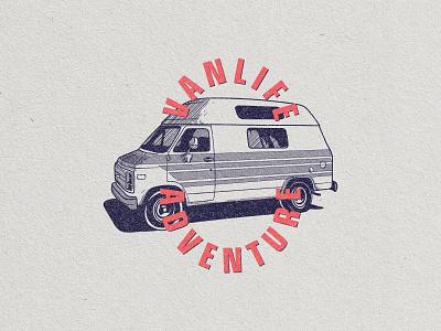 Vanlife adventure logo retro badge textured vanlife van illustration badge vintage badge retro design retro logo logodesign retro