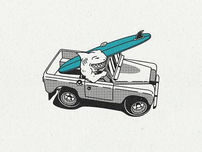 Shark attack texture pickup truck pickup car illustration car longboard custom board sharkweek shark illustration surfing surfer surfboard surf logodesign badge vintage badge retro logo retro design retro