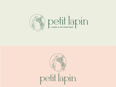 Petit Lapin Floral & Gift Boutique Logo bunny flowers floral green pink icon typography branding logo rabbit florist