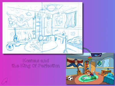 Kosmas in his Room comics child graphic design procreate cartoon children book character design illustration