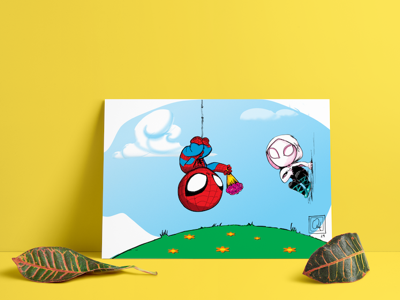 Little Marvel Spider-Man giving Flowers to Gwen drawing character design my art illustration
