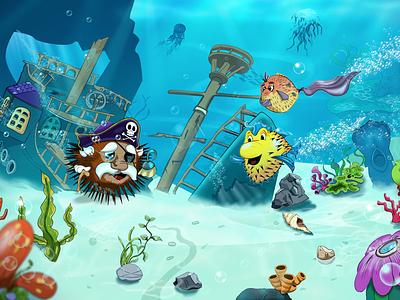 Under the Sea disney summer sea bubbles fishes illustration