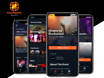 ComeTogether.Network design blockchain tickets ux ui events music