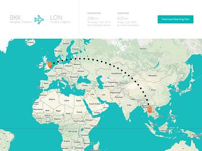 Flight Itinerary App travel flights ui web digital flat map boarding pass web app flight centre