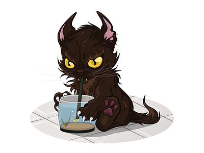 Sly cat aquariumfish aquarium fish vectorillustration vectorart vector illustrator illustration graphicdesign graphic draw design character cat animal adobeillustrator