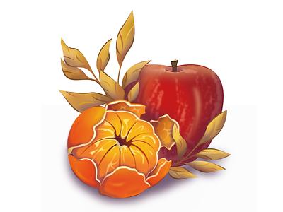 "Label For Yogurt ""Zlakovka"" fruits fruit yogurt mandarin oat orange vectorillustration illustrationart design art draw illustration vector illustrator adobeillustrator"