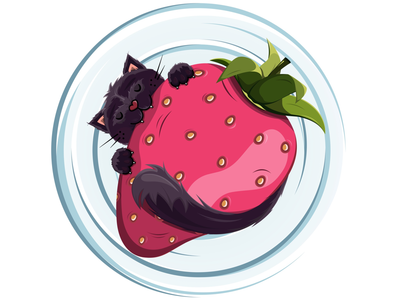 Greedy cat drawingoftheday print icon creative yummy strawberry kitten cat animal character graphicdesign graphic design drawing picture illustration vector illustrationart illustrator adobeillustrator