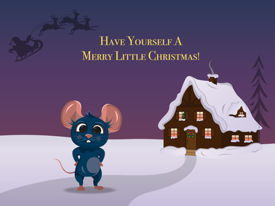 Christmas card happynewyear christmas typography postcard draw winter vectorillustration vectorart vector rat illustrator illustration graphicdesign graphic design character animal adobeillustrator