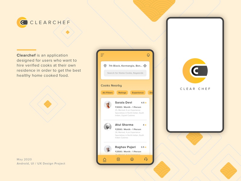 Clear Chef vector mobile design minimal ui ux logo illustration