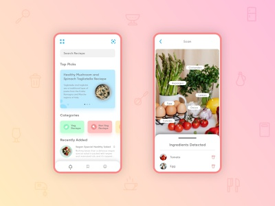 Food Formula scanner recipe recipe app ingredient food design ui ux mobile design minimal illustration