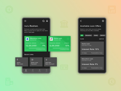 Dhan - Covering all your needs dashboard dark mode dark theme bank loan figma xd design flat branding logo icon design illustration minimal ux ui mobile design