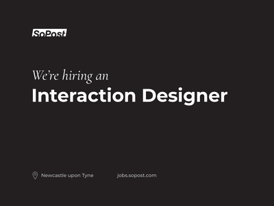We're Hiring! ui design sopost interaction design ux ui jobs hiring