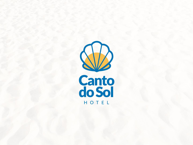 Canto do Sol - Logo Vertical sea shell sun beach praia hotel logo hotel modern logo design clean branding