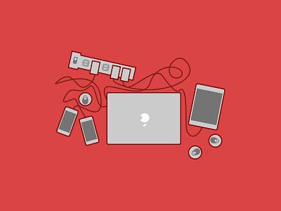 Hackathon Things illustration doodle macbook iphone hackathon hacking charger